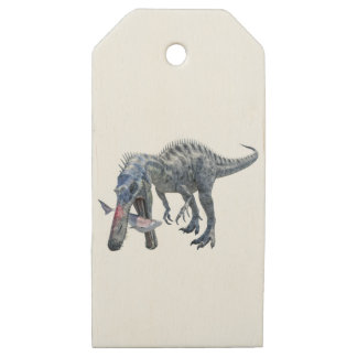 Etiquetas De Madera Para Regalos Dinosaurio de Suchomimus que come un tiburón
