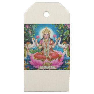 Etiquetas De Madera Para Regalos Diosa de Lakshmi del amor, de la prosperidad, y de
