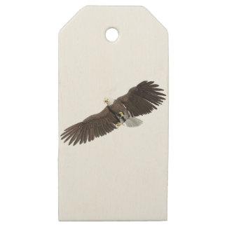 Etiquetas De Madera Para Regalos Eagle calvo con las alas en abajo frota