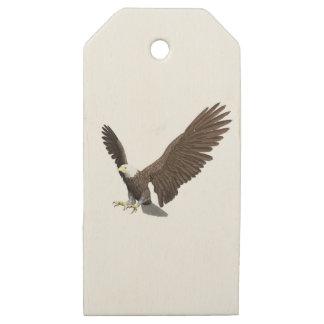 Etiquetas De Madera Para Regalos Eagle calvo que viene adentro para un aterrizaje