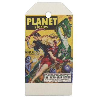 Etiquetas De Madera Para Regalos El Blonde heroico monta un dinosaurio