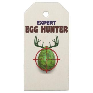 Etiquetas De Madera Para Regalos El cazador experto de Pascua, ciervo del huevo