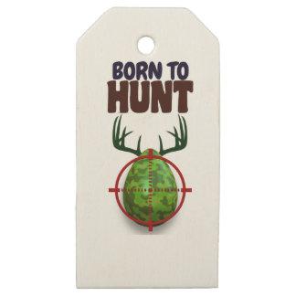 Etiquetas De Madera Para Regalos el diseño divertido de pascua, llevado para cazar