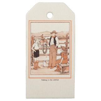 Etiquetas De Madera Para Regalos El libro de niño del vintage - hablando con el