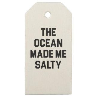 Etiquetas De Madera Para Regalos El océano me hizo salado