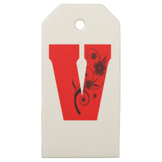 Etiquetas De Madera Para Regalos Flor de la letra V