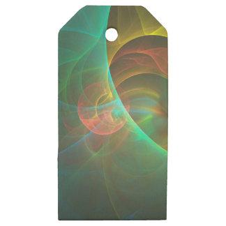 Etiquetas De Madera Para Regalos Fractal abstracto multicolor