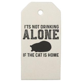 Etiquetas De Madera Para Regalos Gato - bebiendo solamente - regalo perfecto para