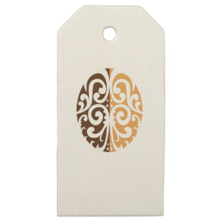 Etiquetas De Madera Para Regalos Grano de café con adorno maorí