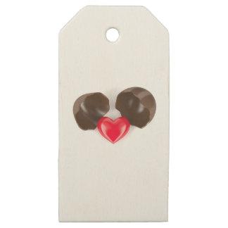 Etiquetas De Madera Para Regalos Huevo y corazón de chocolate