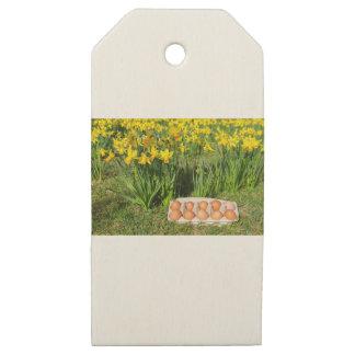 Etiquetas De Madera Para Regalos Huevos en caja en hierba con los narcisos