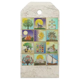 Etiquetas De Madera Para Regalos Judaica 12 tribus de impresión del arte de Israel