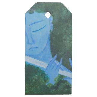 Etiquetas De Madera Para Regalos Krishna con la flauta