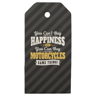 Etiquetas De Madera Para Regalos La felicidad de la compra del canto del motorista