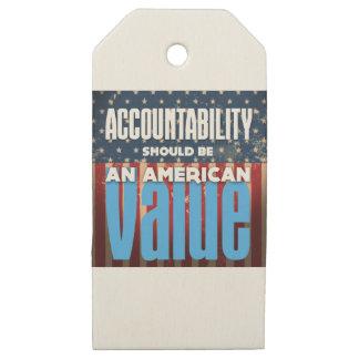 Etiquetas De Madera Para Regalos La responsabilidad debe ser un valor americano,