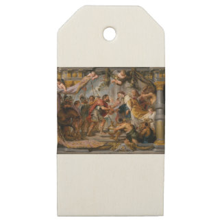 Etiquetas De Madera Para Regalos La reunión de Abraham y del arte de Melchizedek
