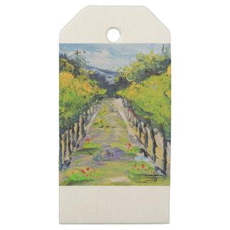 Etiquetas De Madera Para Regalos Lagar de California, vides del viñedo del verano