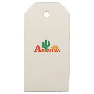 Etiquetas De Madera Para Regalos Logotipo de Arizona simple