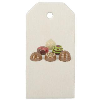Etiquetas De Madera Para Regalos Mezcla de caramelos de chocolate