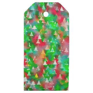 Etiquetas De Madera Para Regalos Modelo de la acuarela del árbol de navidad