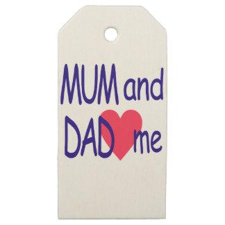 Etiquetas De Madera Para Regalos Momia y papá yo, mamá