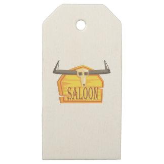 Etiquetas De Madera Para Regalos Muestra del salón con el dibujo de la cabeza