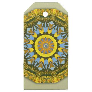 Etiquetas De Madera Para Regalos Naturaleza del girasol, Flor-Mandala