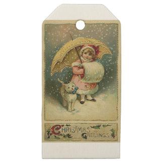Etiquetas De Madera Para Regalos Navidad retro del niño y del gato del vintage del