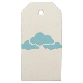 Etiquetas De Madera Para Regalos Nubes azules