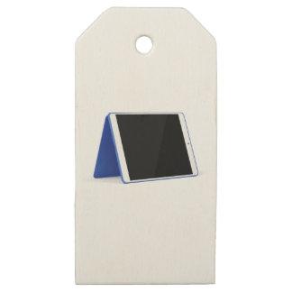 Etiquetas De Madera Para Regalos Ordenador de la tableta en blanco