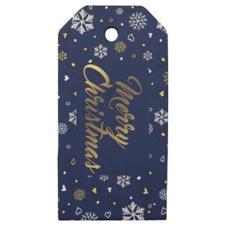 Etiquetas De Madera Para Regalos Oro de las Felices Navidad y copos de nieve