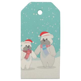 Etiquetas De Madera Para Regalos oso polar B