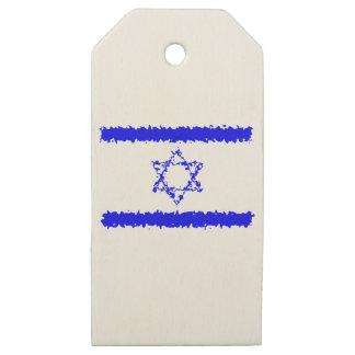 Etiquetas De Madera Para Regalos País del azul de Israel de las banderas