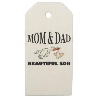 Etiquetas De Madera Para Regalos Papá de la mamá e hijo hermoso