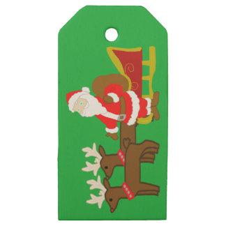 Etiquetas De Madera Para Regalos Papá Noel en el trineo del navidad