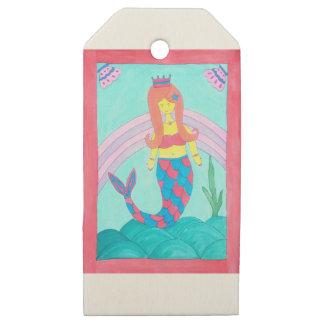 Etiquetas De Madera Para Regalos Pequeña sirena linda