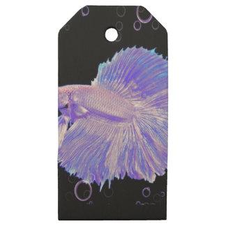 Etiquetas De Madera Para Regalos Pescados que luchan púrpuras iridiscentes