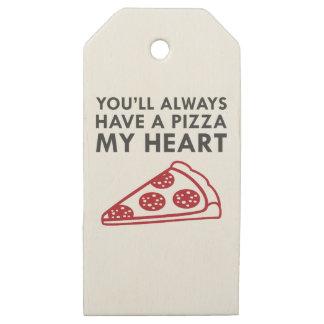 Etiquetas De Madera Para Regalos Pizza mi corazón