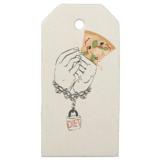 Etiquetas De Madera Para Regalos Pizza y manos sabrosas del dibujo animado