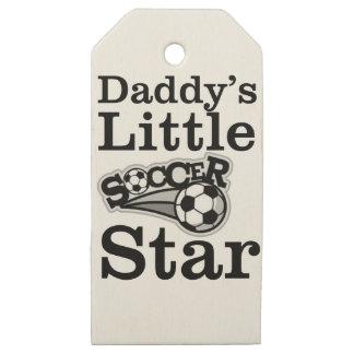 Etiquetas De Madera Para Regalos Poca estrella del fútbol del papá