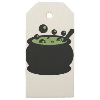 Etiquetas De Madera Para Regalos Pote de cocinar negro y verde