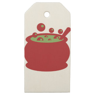 Etiquetas De Madera Para Regalos Pote de cocinar rojo y verde