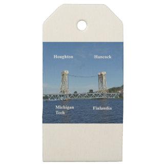 Etiquetas De Madera Para Regalos Puente de elevación del lago Portage
