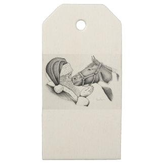 Etiquetas De Madera Para Regalos Santa-and-Horse-1