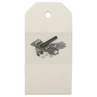 Etiquetas De Madera Para Regalos Silenciador del supresor del arma de fuego con los
