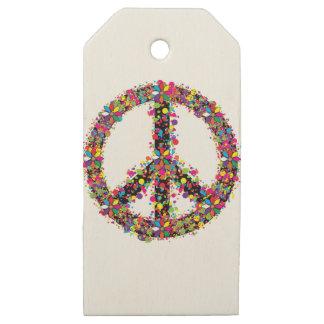 Etiquetas De Madera Para Regalos Símbolo de paz grande