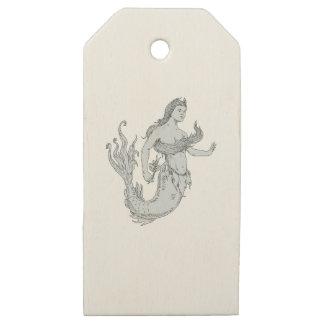 Etiquetas De Madera Para Regalos Sirena del vintage que sostiene el dibujo de la