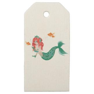 Etiquetas De Madera Para Regalos Sirena pelirroja 2