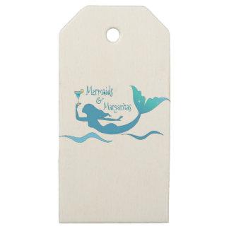 Etiquetas De Madera Para Regalos Sirenas y Margaritas que envuelven fuentes