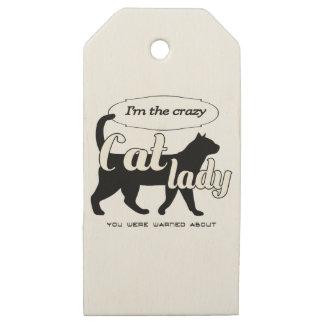 Etiquetas De Madera Para Regalos Soy la señora loca del gato que le advirtieron